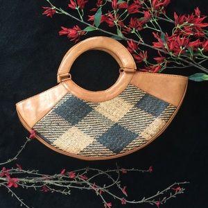 Handbags - Vintage Leather & Rattan Half Moon Bag